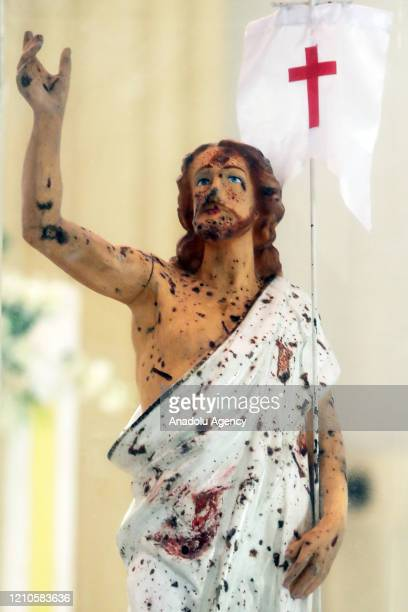 Bomb-scarred image of Jesus Christ preserved within a glass casing as a remembrance of the 2019 Easter Sunday suicide bomb attack at the refurbished...