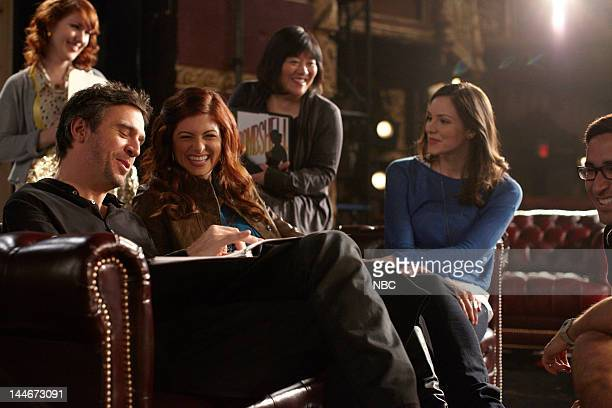 "Bombshell"" Episode 115 -- Pictured: Jack Davenport as Derek Wills, Debra Messing as Julia Houston, Ann Harada as Linda, Katharine McPhee as Karen..."