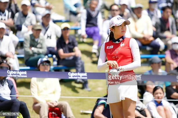 BoMee Lee of Korea walks off the green during the final round of the CyberAgent Ladies Golf Tournament at Grand fields Country Club on April 29 2018...