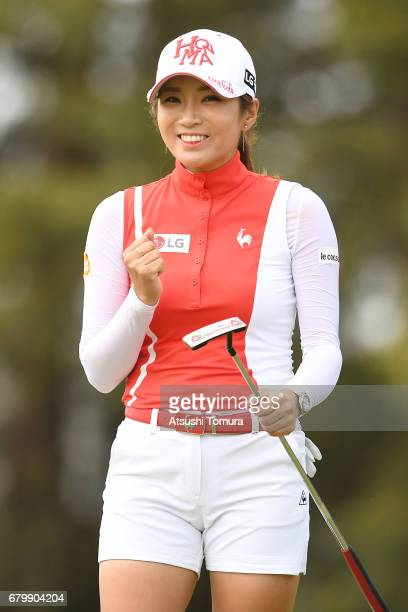BoMee Lee of South Korea celebrates after making her birdie putt on the 9th hole during the final round of the World Ladies Championship Salonpas Cup...