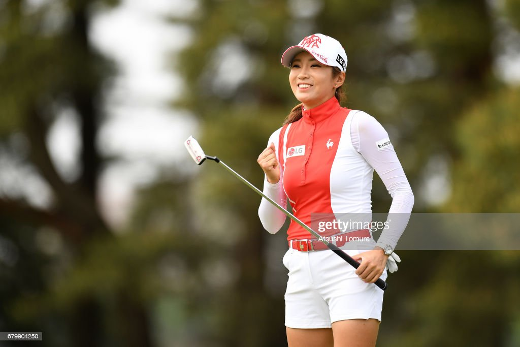 Bo-Mee Lee of South Korea celebrates after making her birdie putt on the 9th hole during the final round of the World Ladies Championship Salonpas Cup at the Ibaraki Golf Club on May 7, 2017 in Tsukubamirai, Japan.