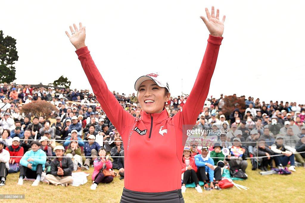 Bo-Mee Lee of South Korea celebrates after winning the Daio Paper Elleair Ladies Open 2015 at the Itsuura-teien Country Club on November 22, 2015 in Iwaki, Japan.