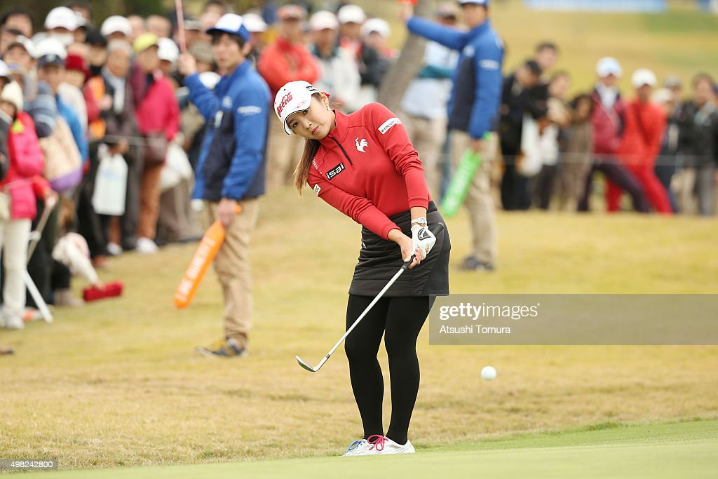 Bo-Mee Lee of South Korea chips onto the 16th green during the final round of the Daio Paper Elleair Ladies Open 2015 at the Itsuura-teien Country Club on November 22, 2015 in Iwaki, Japan.