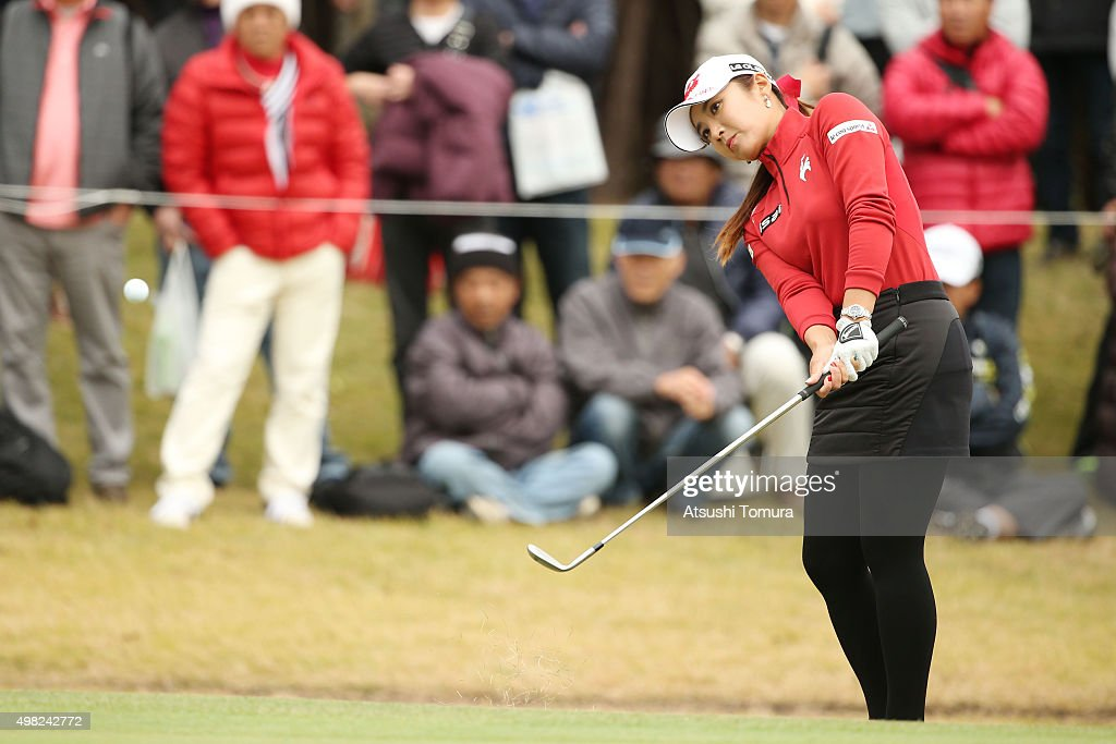 Bo-Mee Lee of South Korea chips onto the 17th green during the final round of the Daio Paper Elleair Ladies Open 2015 at the Itsuura-teien Country Club on November 22, 2015 in Iwaki, Japan.