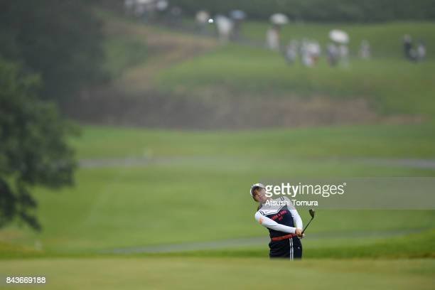 BoMee Lee of South Korea chips onto the 9th green during the first round of the 50th LPGA Championship Konica Minolta Cup 2017 at the Appi Kogen Golf...