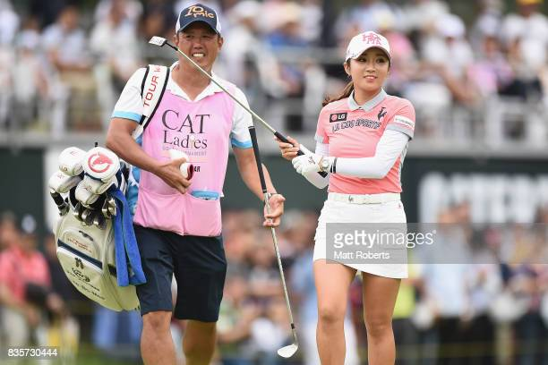 BoMee Lee of South Korea during the final round of the CAT Ladies Golf Tournament HAKONE JAPAN 2017 at the Daihakone Country Club on August 20 2017...