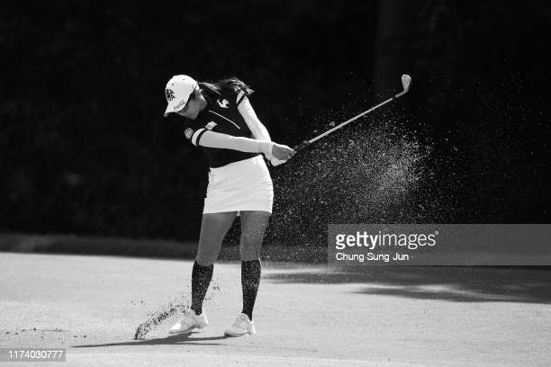 BoMee Lee of South Korea hits her second shot on the 10th hole during the first round of the 52nd LPGA Championship Konica Minolta Cup at the Cherry...
