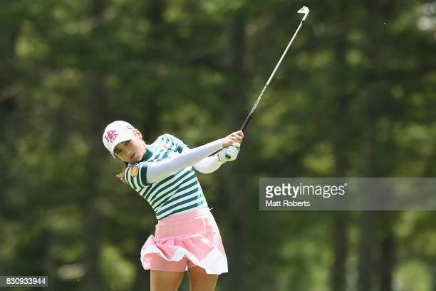 BoMee Lee of South Korea hits her second shot on the 14th hole during the final round of the NEC Karuizawa 72 Golf Tournament 2017 at the Karuizawa...