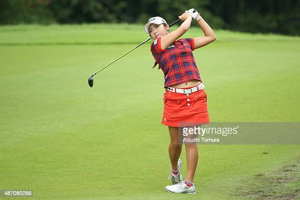 BoMee Lee of South Korea hits her second shot on the 5th hole during the final round of the Golf 5 Ladies Tournament 2015 at the Mizunami Country...