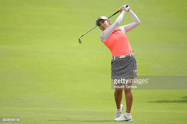 BoMee Lee of South Korea hits her second shot on the 6th hole during the third round of the Earth Mondamin Cup at the Camellia Hills Country Club on...