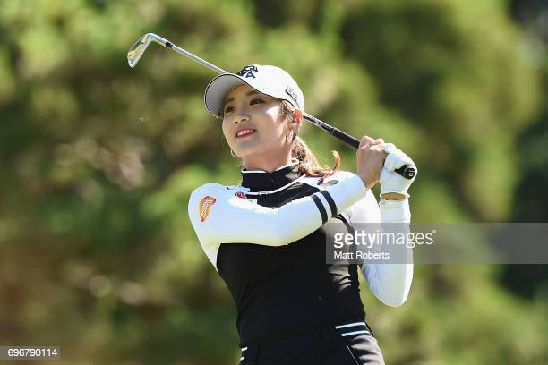BoMee Lee of South Korea hits her tee shot on the 11th hole during the second round of the Nichirei Ladies at the on June 17 2017 in Chiba Japan