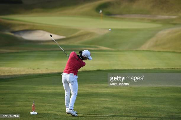 BoMee Lee of South Korea hits her tee shot on the 13th hole during the second round of the Itoen Ladies Golf Tournament 2017 at the Great Island Club...