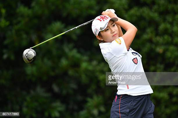 BoMee Lee of South Korea hits her tee shot on the 2nd hole during the Final round of the Munsingwear Ladies Tokai Classic 2016 at the Shin Minami...