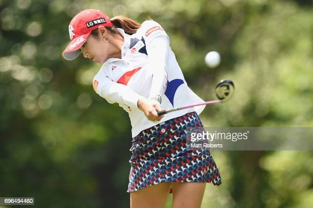 BoMee Lee of South Korea hits her tee shot on the 2nd hole during the first round of the Nichirei Ladies at the Sodegaura Country Club Shinsode...