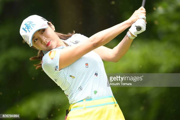 BoMee Lee of South Korea hits her tee shot on the 2nd hole during the first round of the meiji Cup 2017 at the Sapporo Kokusai Country Club...