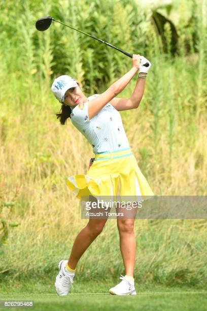 BoMee Lee of South Korea hits her tee shot on the 3rd hole during the first round of the meiji Cup 2017 at the Sapporo Kokusai Country Club...
