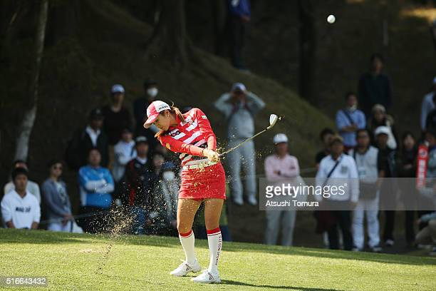 Bo-Mee Lee of South Korea hits her third shot on the 16th hole during the T-Point Ladies Golf Tournament at the Wakagi Golf Club on March 20, 2016 in...