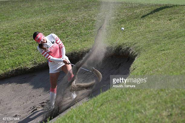 BoMee Lee of South Korea hits out from a bunker on the 18th hole during the third round of Fujisankei Ladies Classic at the Kawana Hotel Golf Course...