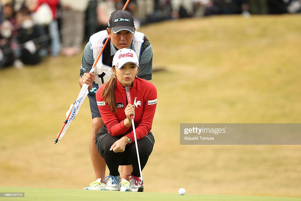 Bo-Mee Lee of South Korea lines up her birdie putt on the 9th green during the final round of the Daio Paper Elleair Ladies Open 2015 at the Itsuura-teien Country Club on November 22, 2015 in Iwaki, Japan.