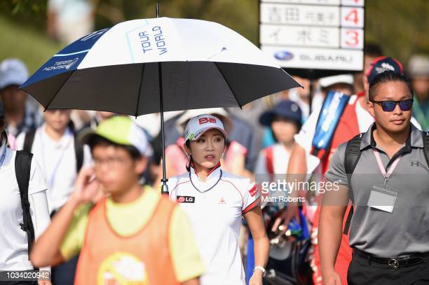 BoMee Lee of South Korea looks on during the final round of the Munsingwear Ladies Tokai Classic at Shin Minami Aichi Country Club Mihama Course on...