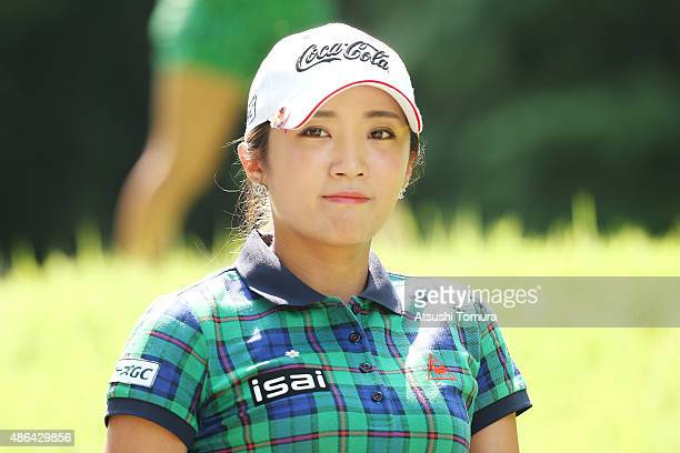 BoMee Lee of South Korea looks on during the first round of the Golf 5 Ladies Tournament 2015 at the Mizunami Country Club on September 4 2015 in...