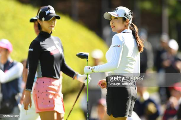 BoMee Lee of South Korea looks on during the second round of Stanley Ladies Golf Tournament at the Tomei Country Club on October 7 2017 in Susono...