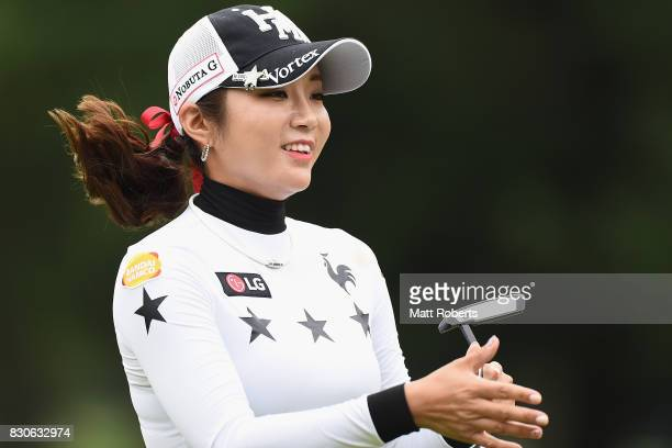 BoMee Lee of South Korea looks on during the second round of the NEC Karuizawa 72 Golf Tournament 2017 at the Karuizawa 72 Golf North Course on...