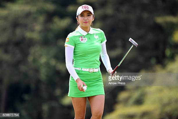 BoMee Lee of South Korea looks on during the third round of the World Ladies Championship Salonpas Cup at the Ibaraki Golf Club on May 7 2016 in...