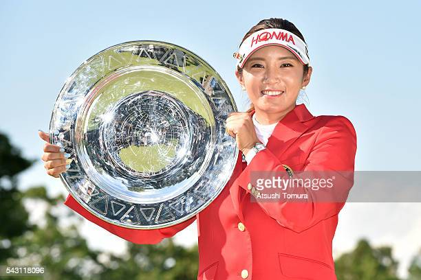 BoMee Lee of South Korea poses with the plate after winning the Earth Mondamin Cup at the Camellia Hills Country Club on June 25 2016 in Sodegaura...