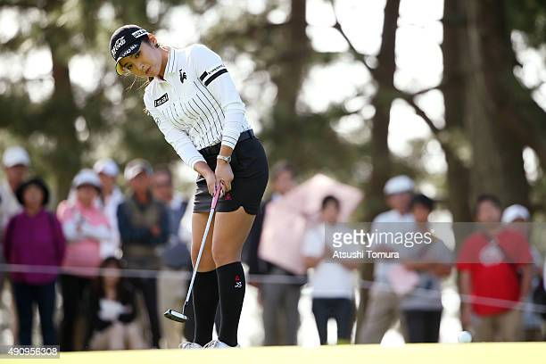 BoMee Lee of South Korea putts on the 12th green during second round of Japan Women's Open 2015 at the Katayamazu Golf Culb on October 2 2015 in Kaga...