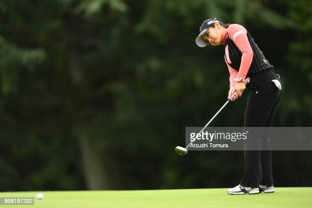 BoMee Lee of South Korea putts on the 1st hole during the first round of Stanley Ladies Golf Tournament at the Tomei Country Club on October 6 2017...
