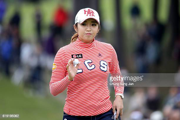 BoMee Lee of South Korea reacts after a putt on the 9th hole during the final round of the Mitsubishi Electric/Hisako Higuchi Ladies Golf Tournament...