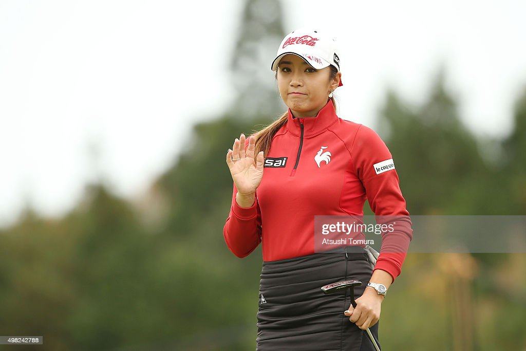 Bo-Mee Lee of South Korea reacts during the final round of the Daio Paper Elleair Ladies Open 2015 at the Itsuura-teien Country Club on November 22, 2015 in Iwaki, Japan.