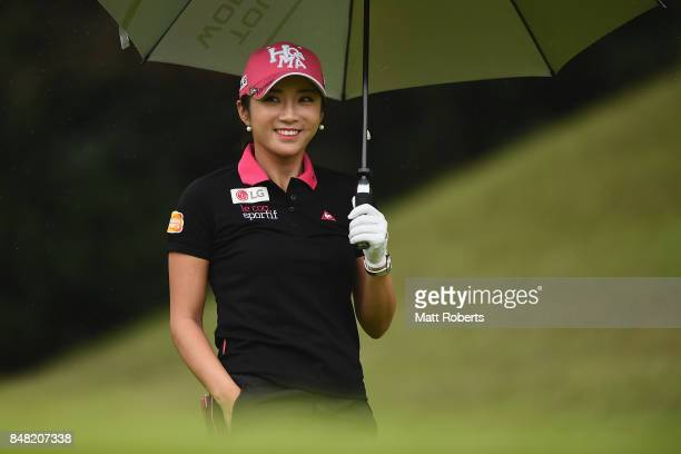 BoMee Lee of South Korea smiles during the final round of the Munsingwear Ladies Tokai Classic 2017 at the Shin Minami Aichi Country Club Mihama...