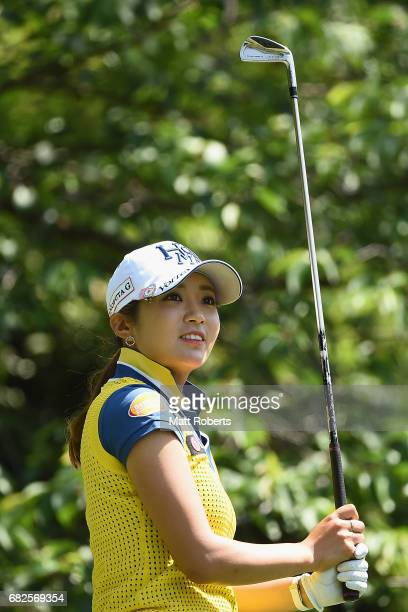 BoMee Lee of South Korea watches her tee shot on the 7th hole during the second round of the HokennoMadoguchi Ladies at the Fukuoka Country Club...
