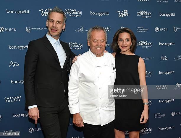 Bon Appetit magazine EditorinChief Adam Rapoport chef Wolfgang Puck and Vice President and Publisher of Bon Appetit magazine Pamela Drucker Mann...