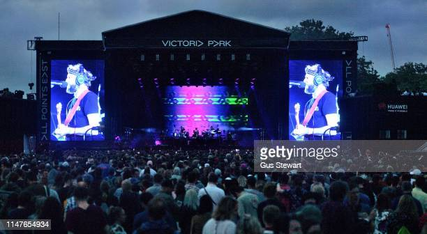 Bon Iver performs as headliner on the North stage during the All Points East Festival in Victoria Park on June 2 2019 in London England