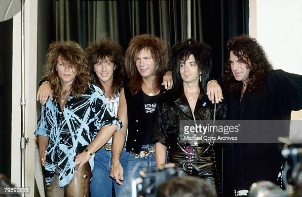 Bon Jovi at the release party for their album 'New Jersey' on August 18 1988 in New York City New York
