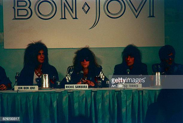Bon Jovi band members being interviewed circa 1980 New York