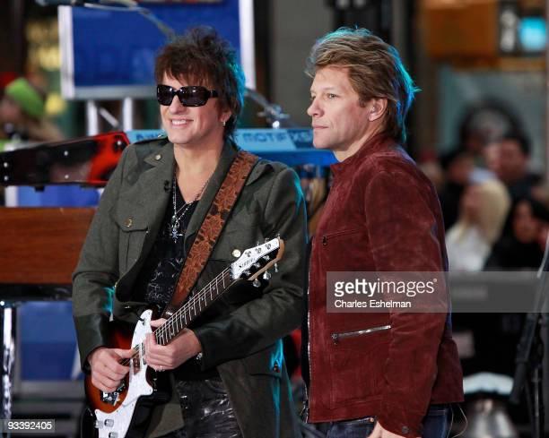 Bon Jovi band members Richie Sambora and Jon Bon Jovi perform on NBC's 'Today' at Rockefeller Center on November 25 2009 in New York City