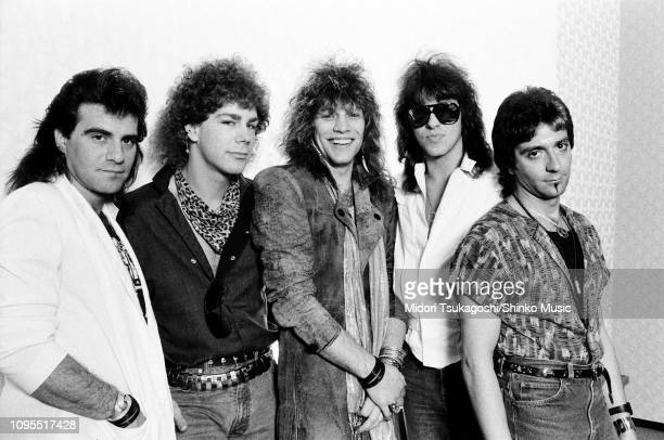 Bon Jovi group portrait backstage in Tokyo Japan April or May 1985 LR Tico Torres David Bryan John Bon Jovi Richie Sambora Alec John Such