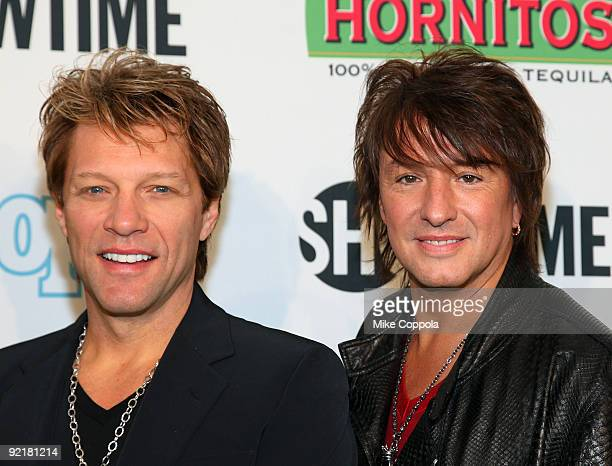 Bon Jovi lead singer Jon Bon Jovi and guitarist Richie Sambora attend the 'Bon Jovi When We Were Beautiful' New York premiere at the SVA Theater on...