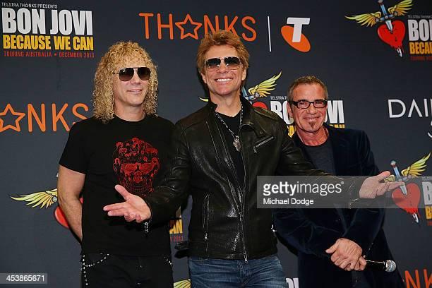 Bon Jovi members David Bryan Jon Bon Jovi and Tico Torres pose for the media at the Crown on December 6 2013 in Melbourne Australia