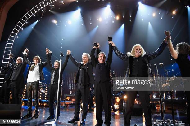 Bon Jovi performs during the 33rd Annual Rock Roll Hall of Fame Induction Ceremony at Public Auditorium on April 14 2018 in Cleveland Ohio