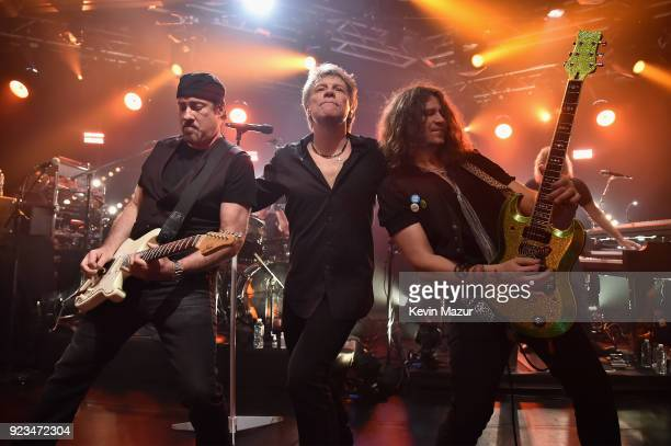 Bon Jovi performs on stage at iHeartRadio ICONS With Bon Jovi Presented By AutoZone at the iHeartRadio Theater New York on February 21 2018 in New...