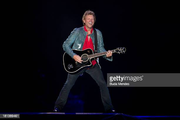 Bon Jovi performs on stage during a concert in the Rock in Rio Festival on September 20 2013 in Rio de Janeiro Brazil