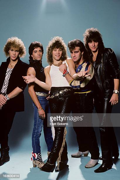 Bon Jovi pose for a group portrait in New Jersey on 18th September 1984 LR David Bryan Alec John Such Jon Bon Jovi Tico Torres and Richie Sambora