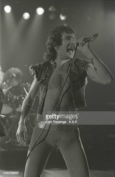 Bon Scott from AC/DC performs live on stage in Germany in October 1978