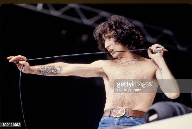 Bon Scott lead singer for AC/DC performs at Wembley Stadium on August 18 1979 in London United Kingdom 170612F1