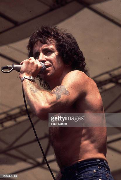 Bon Scott of ACDC in concert on 8/5/78 in Chicago Il